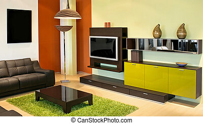 Interior green - Modern living room with green and...