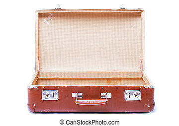 old suitcase - vintage brown suitcase - isolated over white...
