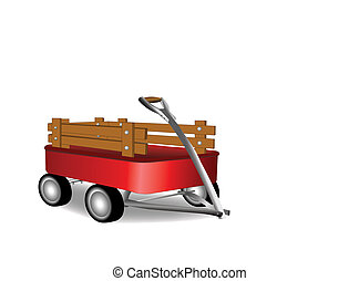 Red Wagon - A childs toy wagon plain over white background