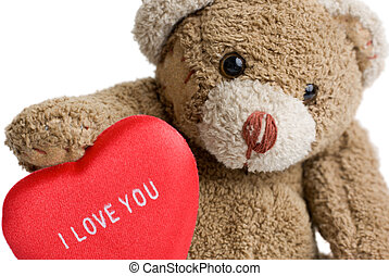 Valentines Teddy Bear - Teddy bear with red heart - I love...