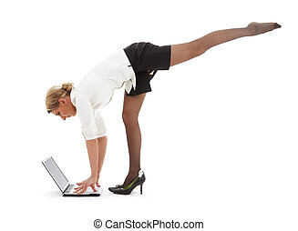 business yoga #3 - flexible businesswoman with laptop...