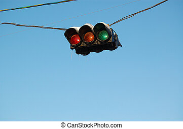 traffic-light - single hanging on wires traffic-light,...