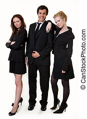Business team - Full body of three business people wearing...
