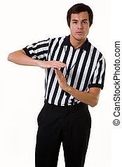 Time out - Young brunette man wearing a referee striped...
