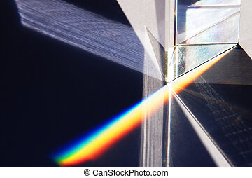 Close up of a prism - A close up of a prism refracting white...