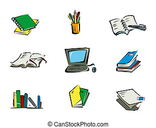 Education Icons with Clipping Path
