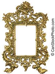 Old brass frame - Decorative brass frame covered patina....