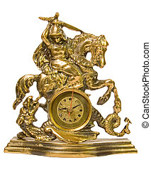 Decorative brass clock - Brass clock representing knight...