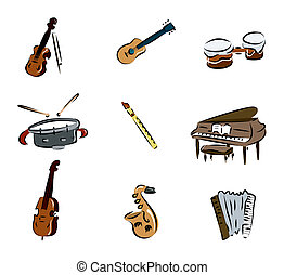 Musical Instruments with Clipping Path