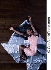 fragile, closed eyes - girl lying on steps, eyes closed