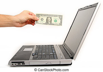 online shoping - the hand is paying for shoping online