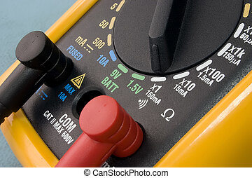 Yellow Multimeter - yellow multimeter close up. electronics...
