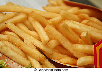 Full of French Fries - Beautiful, golden french fries oozing...