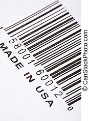 Made in USA and barcode, business concept