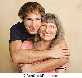 Mother & Adult Son Portrait - Portrait of a loving mother...