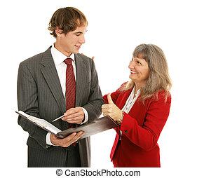 Mentor Series - Thumbsup - Female boss congratulating her...