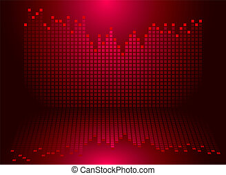 graphics red - Illustrated graphics equaliser in red with a...