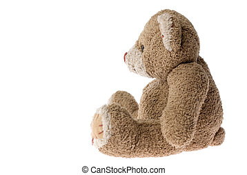 Teddy bear. - Sitting teddy bear - isolated on white.