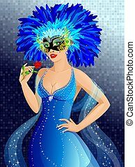 Carnival girl - Beautiful girl in venetian mask with rose