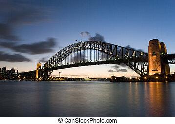 Sydney, porto, ponte, em, anoitecer