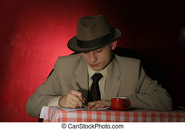 spy writing in the coffe shop