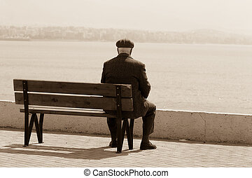 declining years men  - people series: aged men on the bench