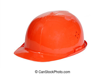 Hard Hat - Orange safety hard hat on white.