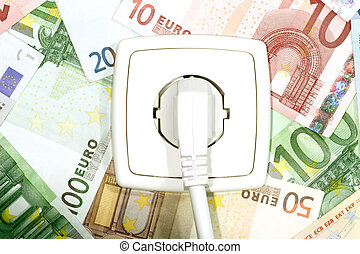 Power Cable - Plugged power cable isolated on a money...