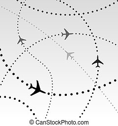 Airplanes Airlines Flight Paths in Sky - Air travel. Dotted...