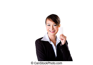 friendly smile with a card - beautiful business woman with a...