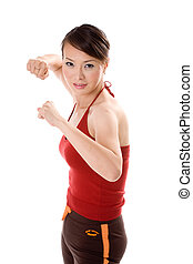 ready to fight - red dress woman ready to defend