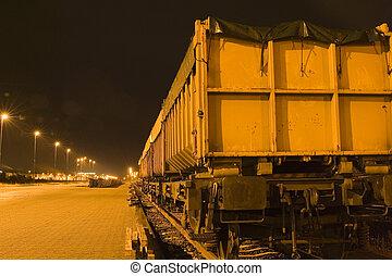 cargo train at night