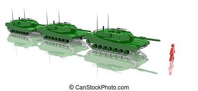 opposition for freedom - a 3d rendering of three tanks and a...