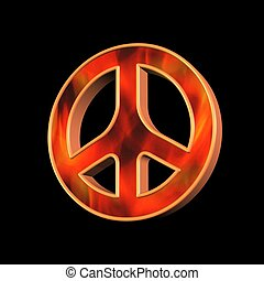 peace and love symbol over black background