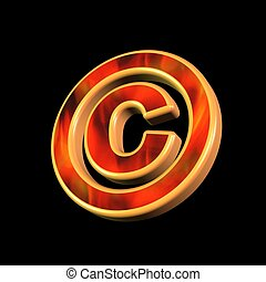 Copyright symbol over black background