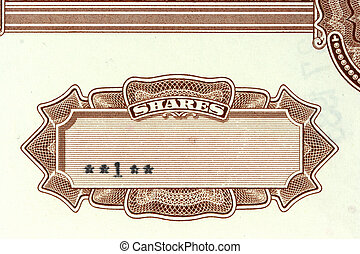 Share certificate - Close-up of authentic, vintage shares of...