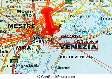 Venica on the map - Venice (Venezia) in Italy. Push pin on...