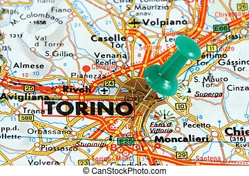 Turin on the map - Turin (Torino) in Italy. Push pin on an...