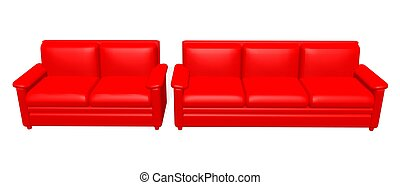 red sofas - a 3d rendering of red sofas