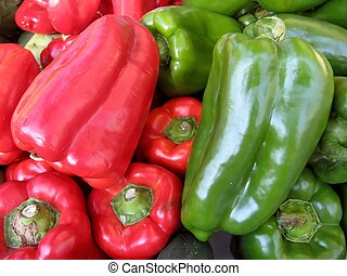 red and green peppers at the market