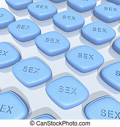 blue sex pills - a 3d rendering of blue sex pills