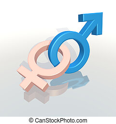 male and female symbols - 3d rendering of male and female...