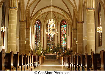 church from inside in Munster, Germany