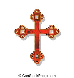 red and golden cross - an illustration of a red and golden...