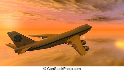 747 plane at sunset - 747 flying in an yellow and orange sky...