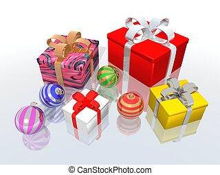 Christmas gifts and balls - a 3d render of Christmas gifts...