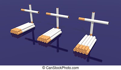 cigarettes cemetery - a 3d render of three tombs made with...