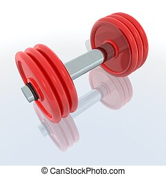 red barbell - a 3d render of a red barbell with reflection