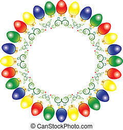 Vector Christmas lights - A wreath of bright and colorful...