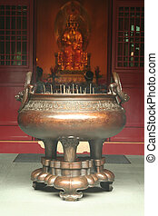 Incense Burner in a Chinese Temple - Joss stick prayer...